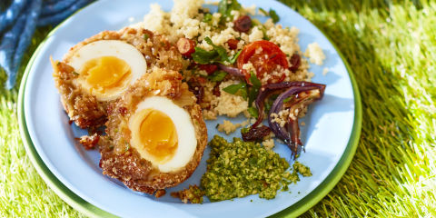 Onion bhaji Scotch eggs with dip
