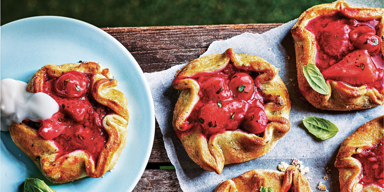 Summer fruit and basil galettes