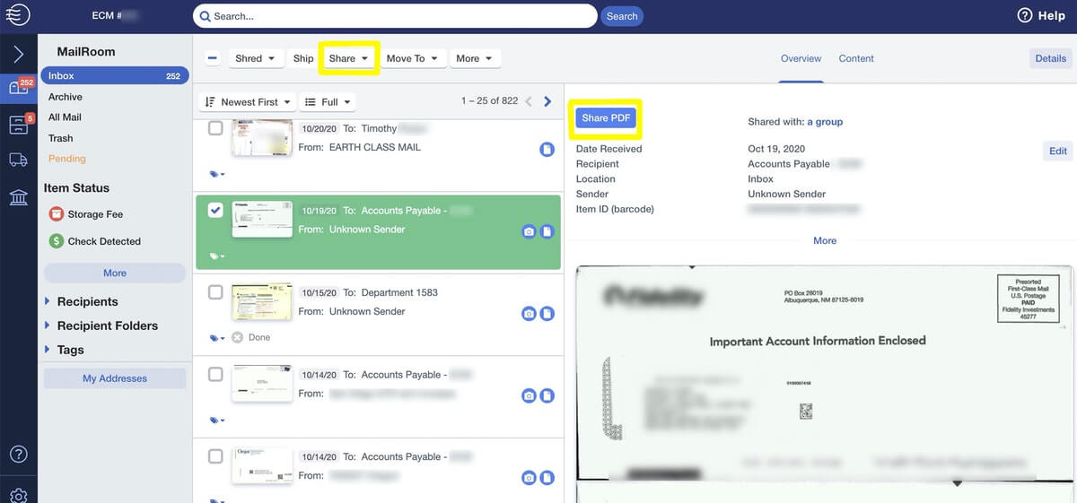 Earth Class Mail: Online Mailroom Management Software