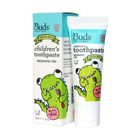 Mumsandbabes -  Buds for kids Children's Toothpaste with Natural Xylitol - Green Apple [1 - 3 Tahun]