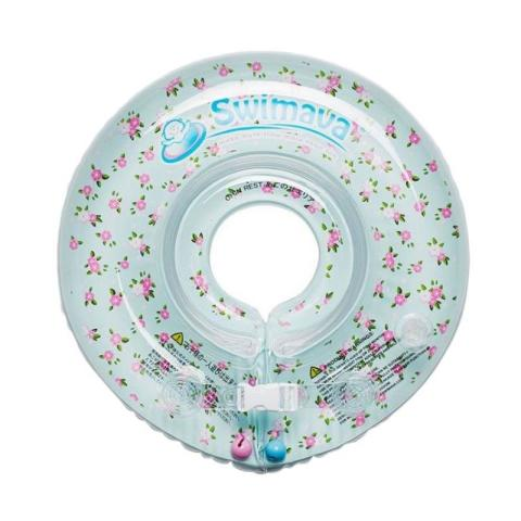 Mumsandbabes - Swimava SWM210 French Flower G1 Starter Ring with Diaper Pelampung Anak - Cyan