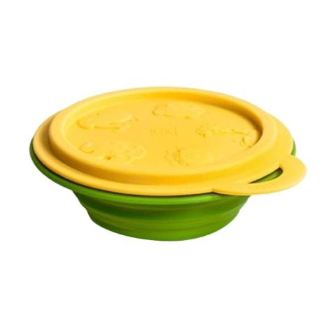 Mumsandbabes - Marcus&Marcus Alat Makan Collapsible Baby Bowl Yellow Giraffe Yellow