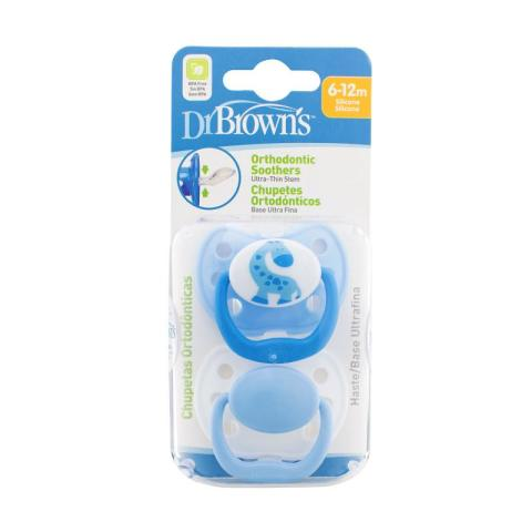 Mumsandbabes - Dr. Brown's 971 Pacifier with Handle [2 pcs/Size 2/ 6-12m] Blue