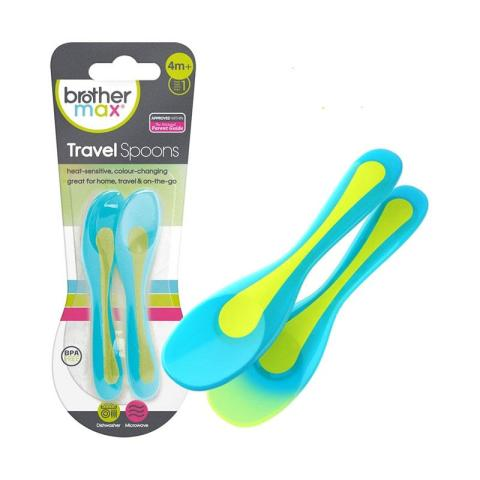 Mumsandbabes - Brother Max 2 Heat Sensitive Travel Spoons - Blue Green