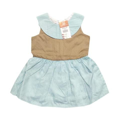 Mumsandbabes - Tiny Button Infant Girls Dress Bayi - Cream White 6-12 bulan