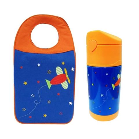 Mumsandbabes - Arvita Lunch Bag Airplane + Arvita Thermos Bottle Water Airplane