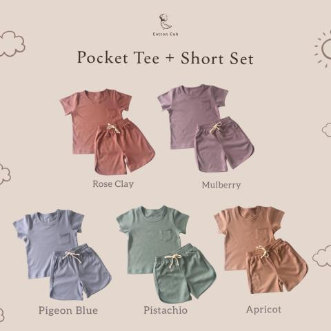 Mumsandbabes - Cotton Cub Pocket Tee+Short Set  Baju Bayi - Pigeon Blue