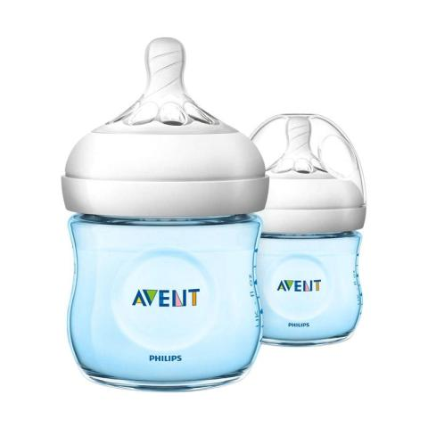 Mumsandbabes - Philips Avent SCF692-23 Natural 2.0 Baby Bottle - Blue [125 mL/Twin Pack]
