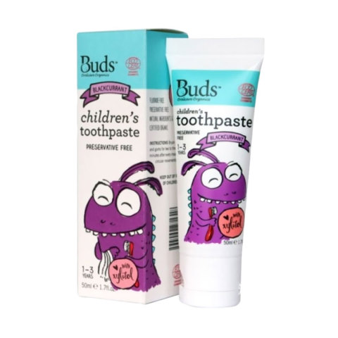 Mumsandbabes -  Buds for kids Children's Toothpaste with Natural Xylitol - Blackcurrant [1 - 3 Tahun]
