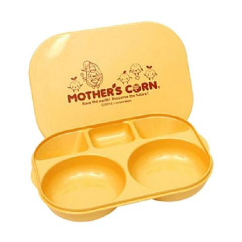 Mumsandbabes - Mother's Corn Meal Plate with Lid Peralatan Makan