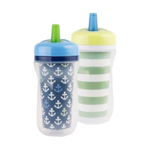 Mumsandbabes - The First Years Y6309A2 Super Chill Sippy Insulate Straw Peralatan Makan Anak - Blue Green [9oz]