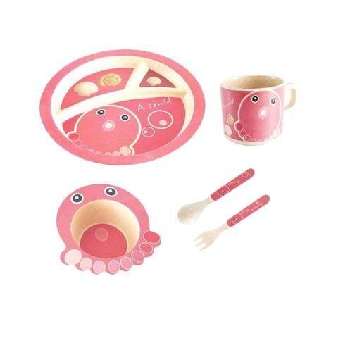 Mumsandbabes - Eco Joy Bamboo Fiber Kids Set Alat Makan - Squid