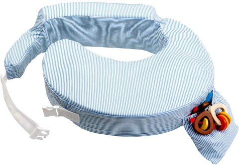 Mumsandbabes - My Brest Friend Original Nursing Pillow Blue & White Stripe Bantal Menyusui