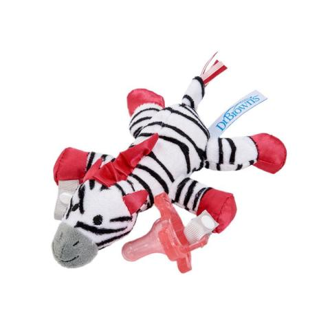 Mumsandbabes - Dr. Brown's Zebra Lovey with Pink One Piece Pacifier Dot Bayi