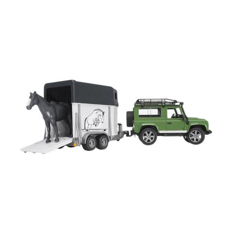 Mumsandbabes - Bruder Toys 2592 Land Rover Defender Station Wagon with Horse Trailer and 1 Horse
