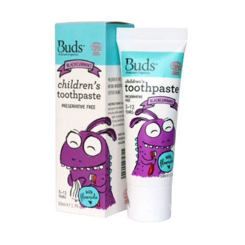 Mumsandbabes - Buds for kids Children's Toothpaste with Fluoride - Blackcurrant [3 - 12 Tahun]