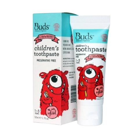 Mumsandbabes - Buds for kids Children's Toothpaste with Fluoride - Strawberry [1 - 3 Tahun]