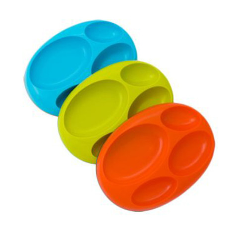 Mumsandbabes -  Boon 11064 Boy Divide Plate Alat Makan Bayi [3 Pcs] - Blue Green Orange