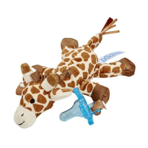 Mumsandbabes - Dr. Brown's Giraffe Lovey with Blue One Piece Pacifier Dot Bayi