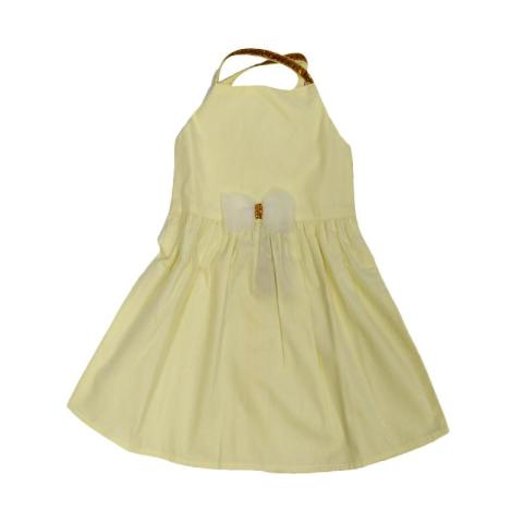 Mumsandbabes - Tiny Button Infant Girl Fairy Dress Bayi - Yellow 12-18 bulan