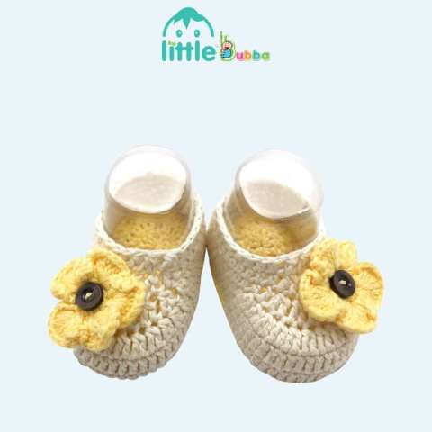 Mumsandbabes - Little Bubba Handmade Knit Shoes Newborn Sunflower