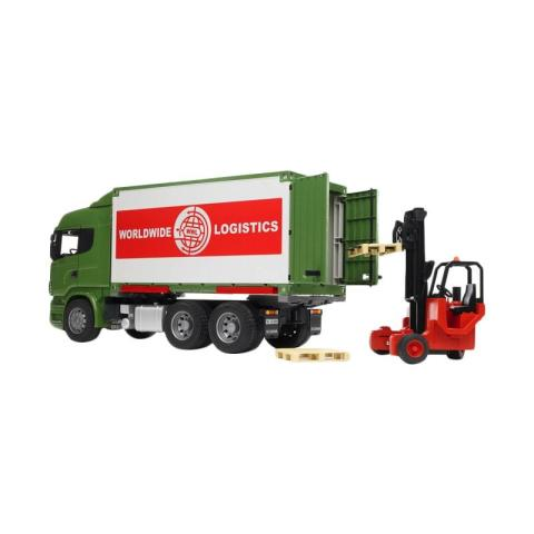Mumsandbabes - Bruder Toys 3580 Scania R-Series Truck with Interchangeable Container & Forklift Diecast