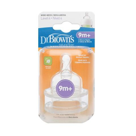 Mumsandbabes - Dr. Brown's 363 INTL Level 4 Silicone Wide Neck Options Nipple Dot Bayi [2 Packs] White
