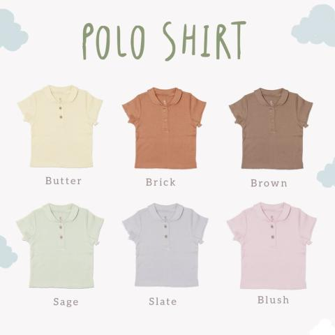 Mumsandbabes - Cotton Cub Picot Polo Shirt Baju Bayi - Brown