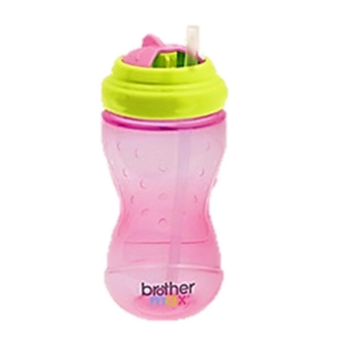 Mumsandbabes - Brother Max Swivel Straw Bottle 360 ml - Pink Green