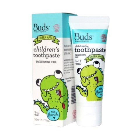 Mumsandbabes - Buds for kids Children's Toothpaste with Fluoride - Green Apple [3 - 12 Tahun]