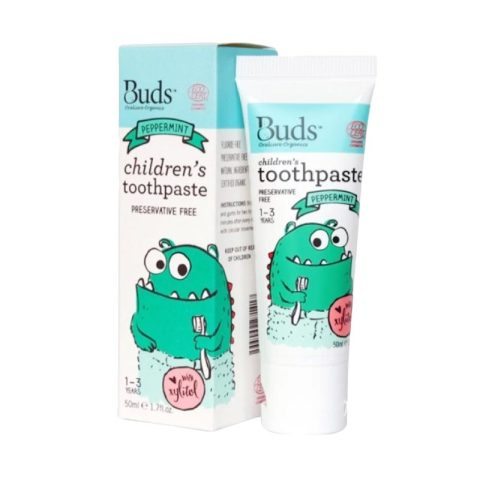 Mumsandbabes - Buds for kids Children's Toothpaste with Natural Xylitol - Peppermint [1 - 3 Tahun]