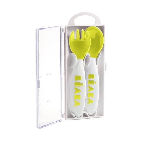 Mumsandbabes - Beaba Set of 2 2nd age Training For Spoon - Neon 913399