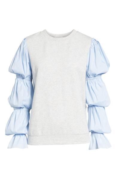 Something Navy Poplin Sleeve Sweatshirt