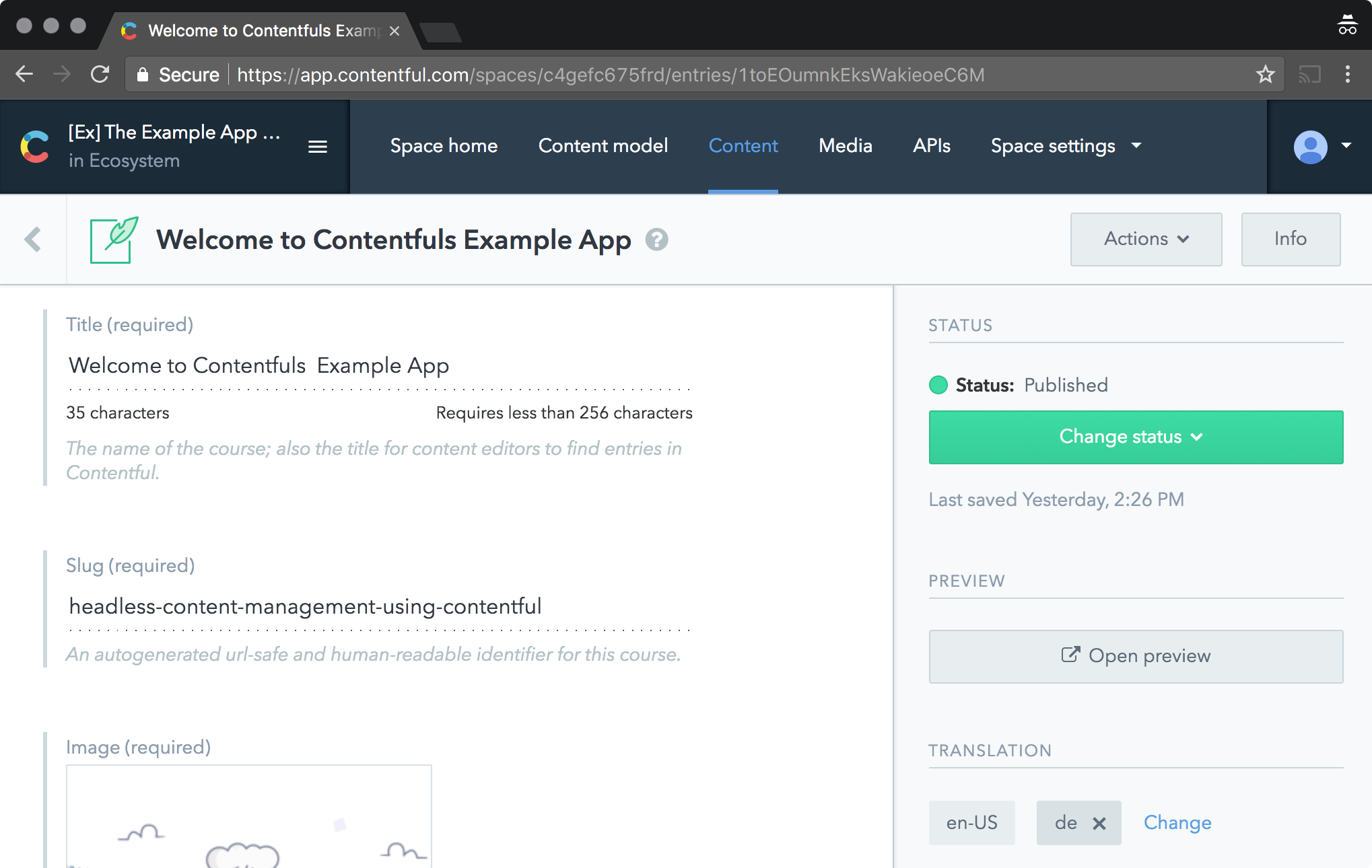 Screenshot: Contentful web app