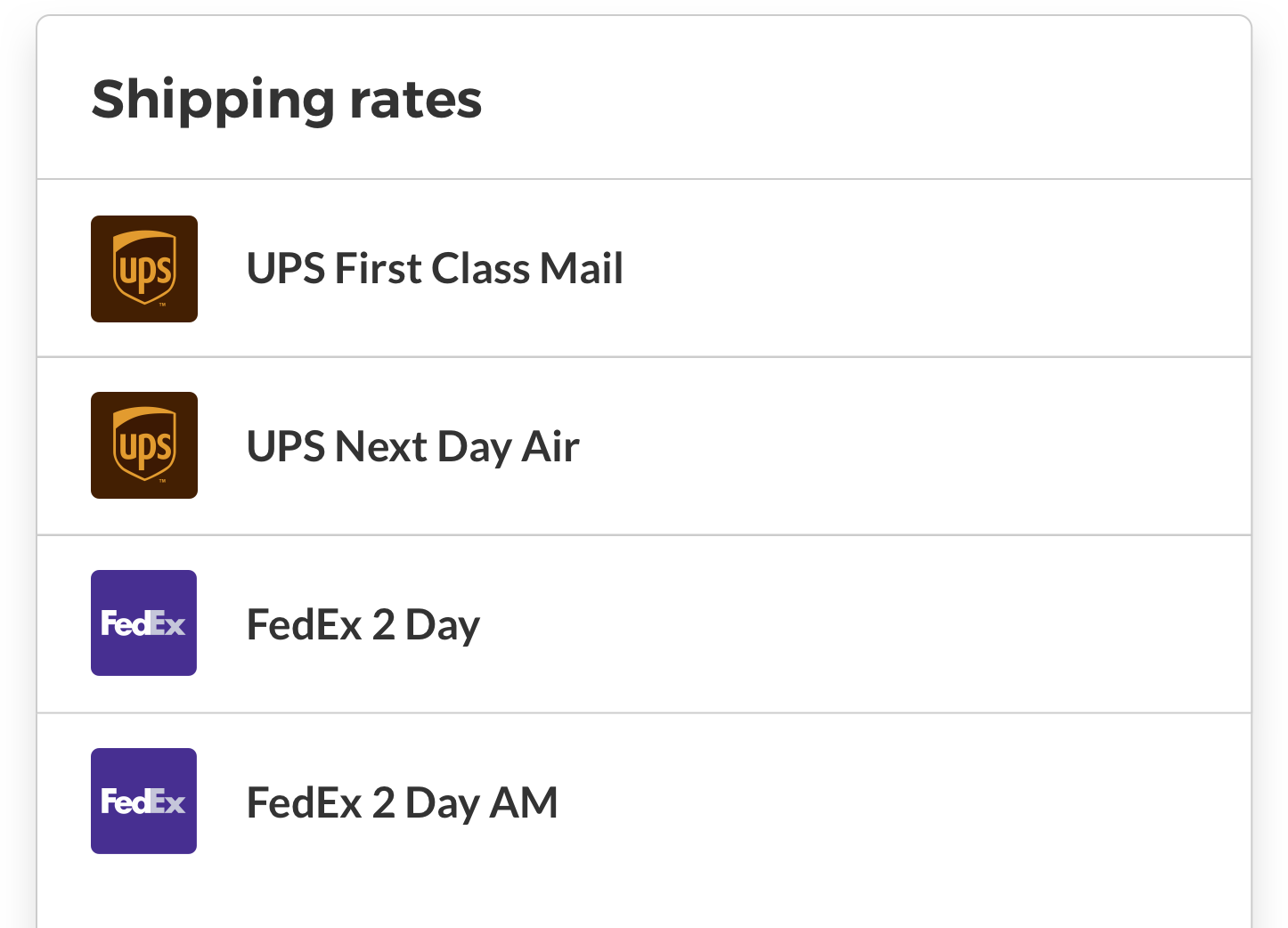 shipping rate