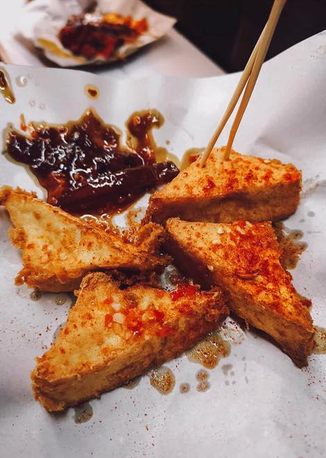 Mouth watering fried tofu with a spicy sauce