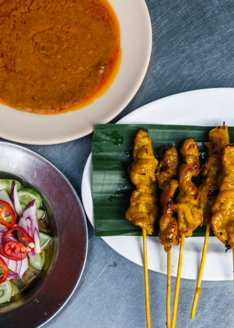 Coconut chicken skewers with rich peanut satay and ajat relish