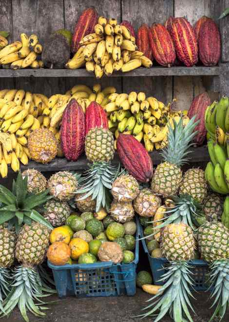 Stop in a local food market to try a ton of exotic fruits