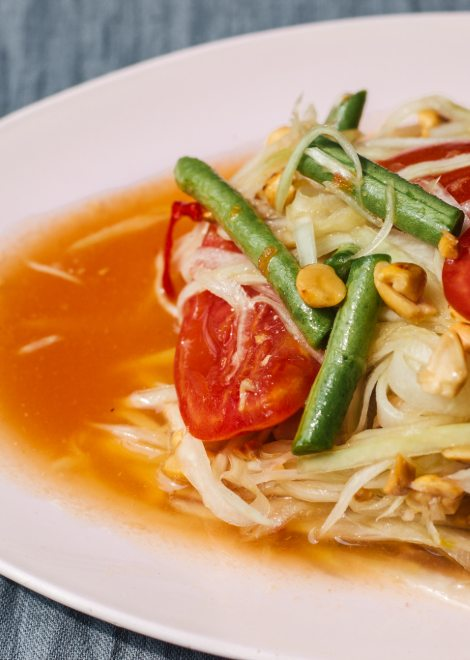 Som tum papaya salad with zingy lime dressing