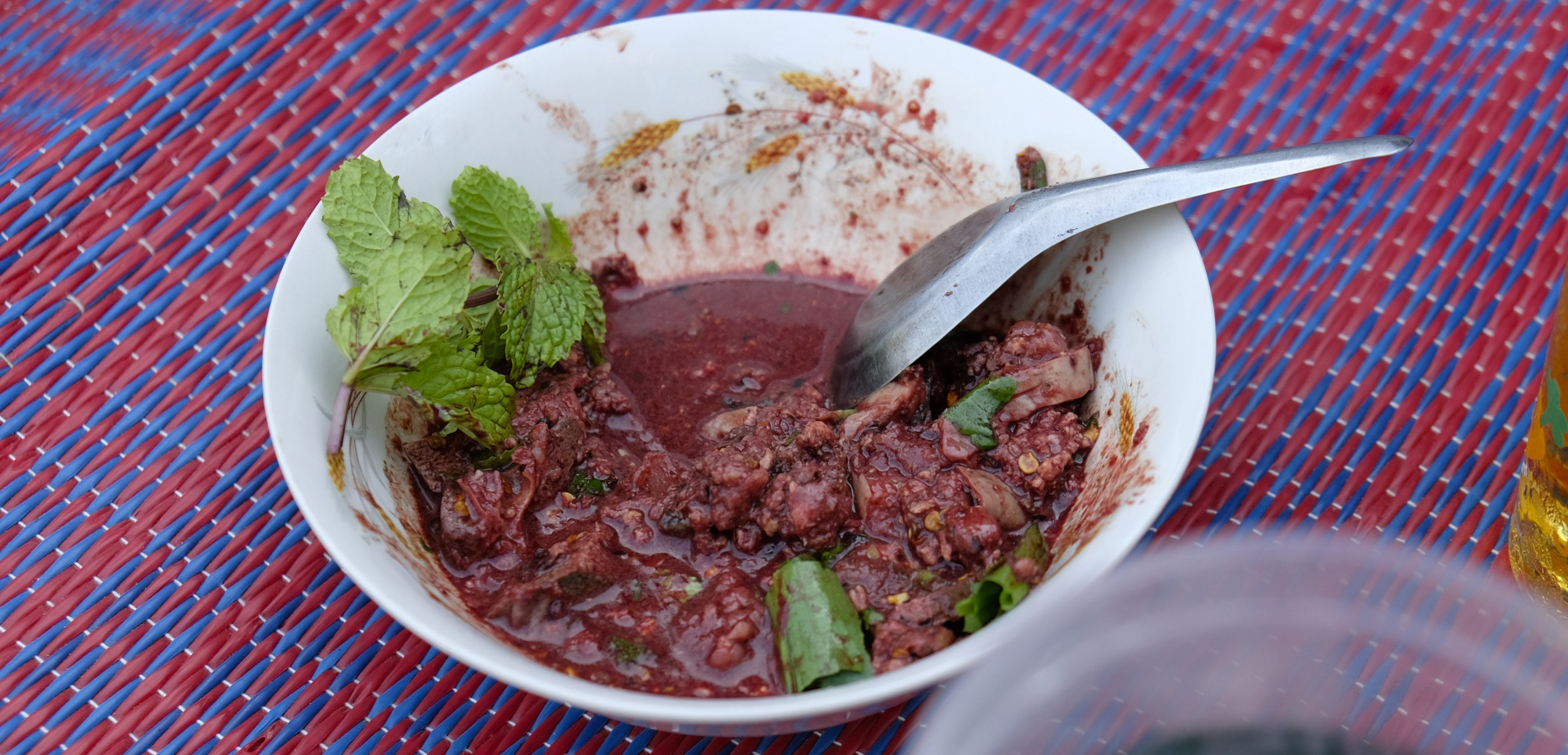 video screenshot for Eating raw pigs' blood soup in Northern Thailand