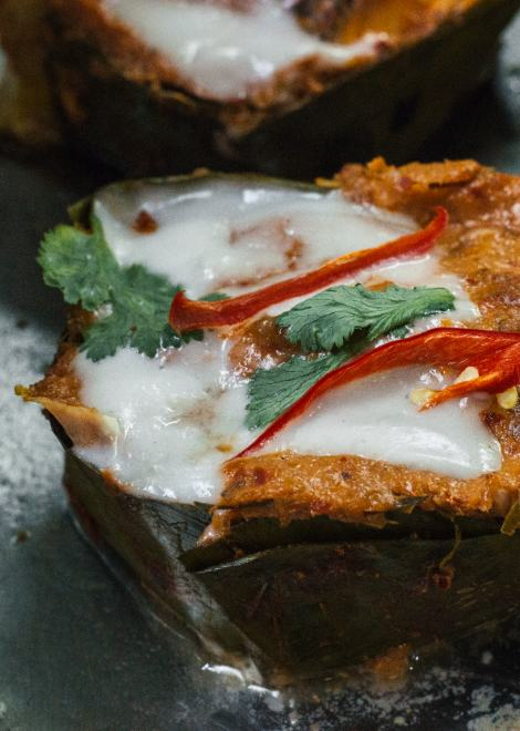 Steamed river fish curry with warm coconut milk