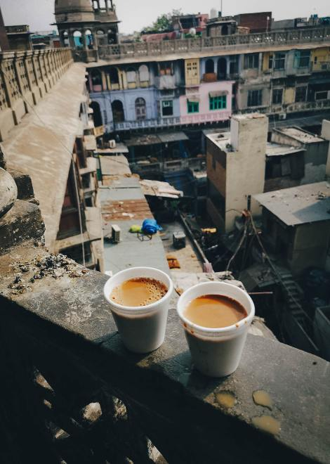 Masala chai from a secret spot on the spice market rooftop