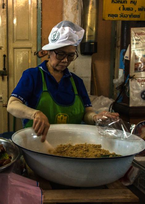 Local sausage making, one of the last to make it in Bangkok