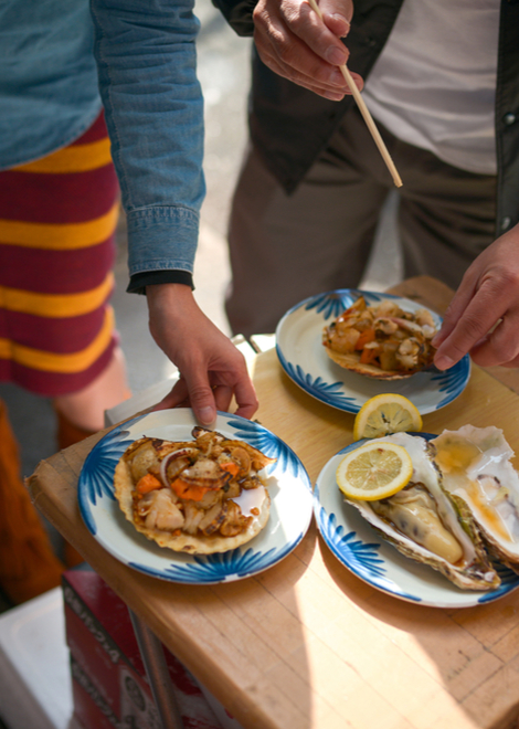 Taste seafood samples in the seafood market