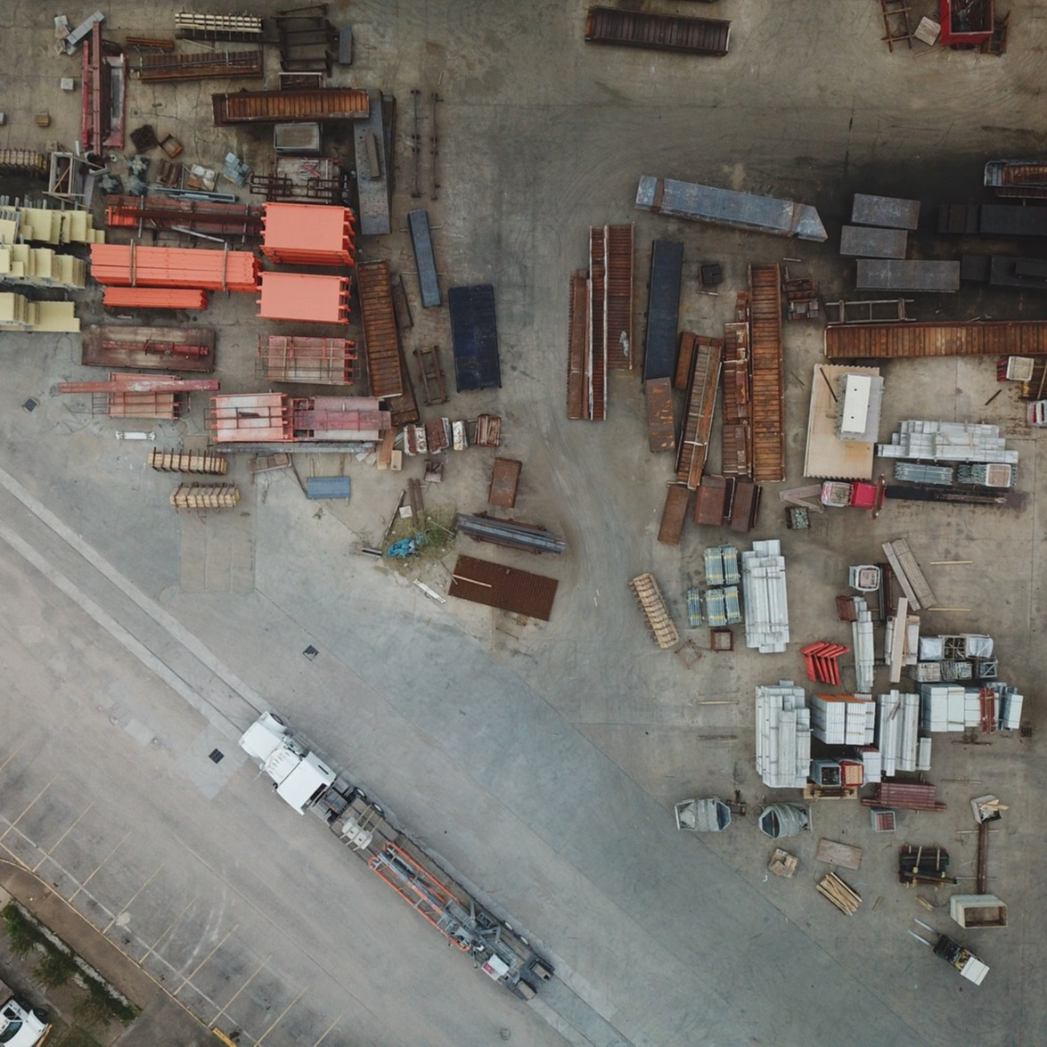 Aerial view of an industrial work yard