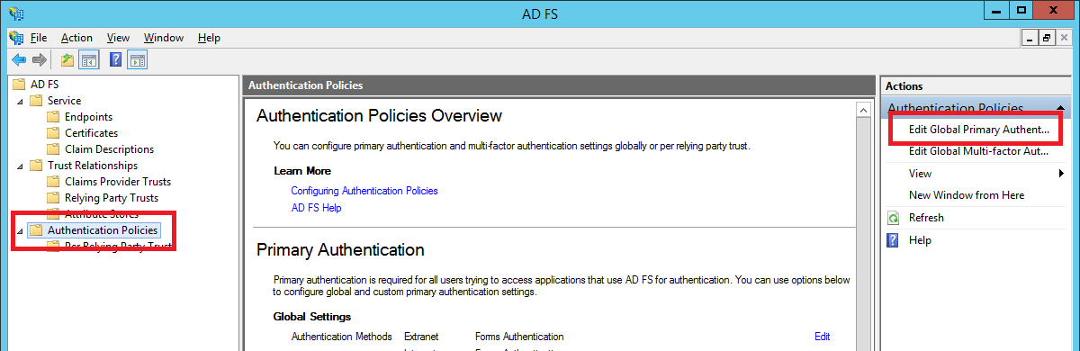 ADFS global policy