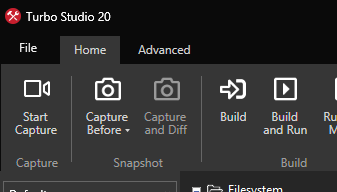 Turbo Studio menu bar