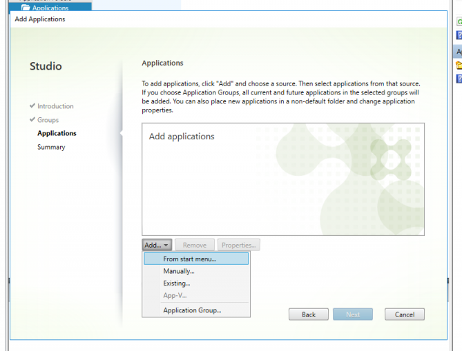 Citrix studio add application