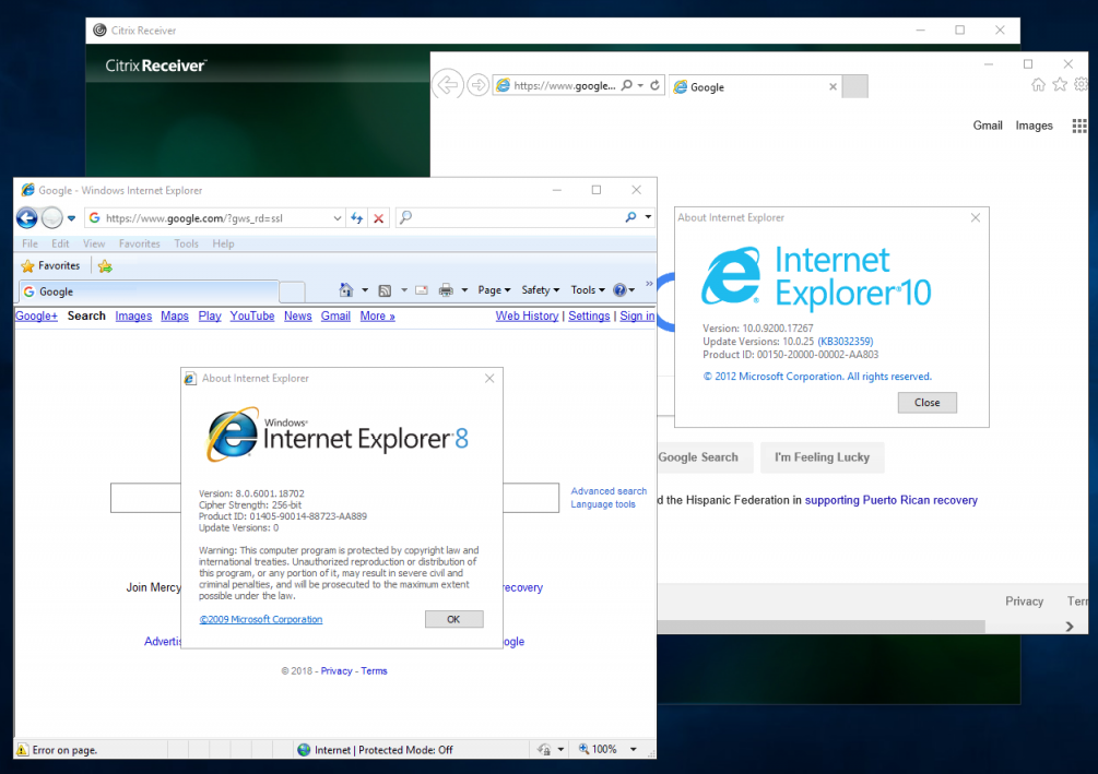 Citrix StoreFront side-by-side IE