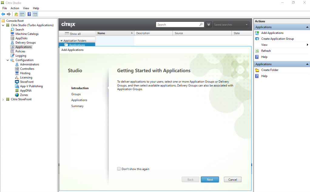 Citrix studio applications